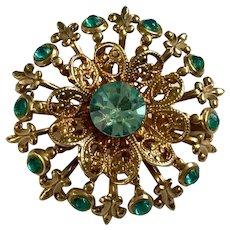Aquamarine Colored Rhinestone Round Gold-tone Pin Brooch