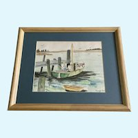 Phyllis Boniface, Fisherman Fishing at Dock Watercolor Painting