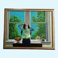 Ernie Henfeld Figural Girl Oil Painting