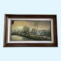 A Berton, English Fox Hunt Equestrian Oil Painting