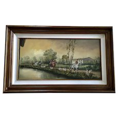 A Berton, English Fox Hunt Equestrian Oil Painting