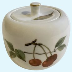 Evesham Gold Sugar Fruit Bowl & Lid By Royal Worcester
