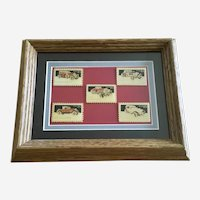 USPS Classic Auto Cars Stamp Lapel Pins Framed Art