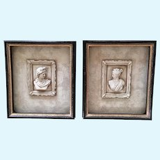 Grecian Relief Busts Apollo Belvedere and Artemis Diana Wall Decorations