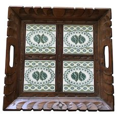 Mid-Century Folk Art Green Tile Serving Tray