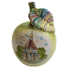 Unique Hand Painted Apple with Russian Church Pottery Figurine Marked M