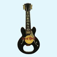 Hard Rock Cafe Bottle Opener Black Guitar Magnet Toronto Canada