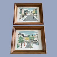 F L Benton, Mid-Century Street Scene Serigraph Prints
