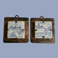 Vintage Deruta T.A.F. Tiles Figural Country Scene Blue White