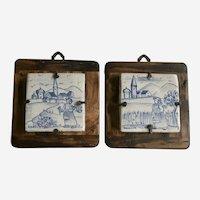 Vintage Deruta T.A.F. Tiles Figural Country Scene Blue White