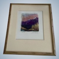 Barbara Coast, Mixed Media Watercolor Painting Aspen Grove Pikes Peak Signed by Artist