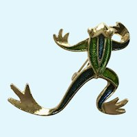 Gerry's Frog Gold-tone Green & Blue Brooch Pin