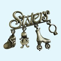 Sisters Brooch Pin Pewter with Dangling Charms