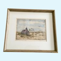 A Sandberg, St. Andrews Church Etching Hand Colored Aquatint
