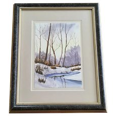 Horsfall, Snow Covered Landscape Watercolor Painting