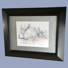 Susan (Sue) A. Rupp, Putting Hare in Pigs Tail, Anthropomorphic Bunny Print