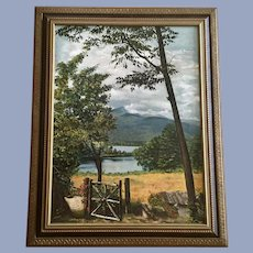 Mary Simmons, Rural Garden Landscape Oil Painting Signed By Artist