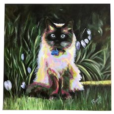 Basia, Kitty Cat Expressionist Portrait Landscape Acrylic Painting