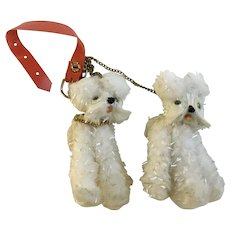 Mid-Century Fluffy White and Silver Dogs with Chain