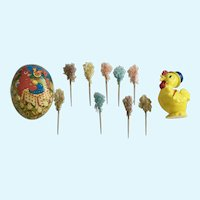 Vintage Easter Decorations Egg, Chick Rattle and Picks