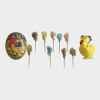 Vintage Easter Decorations Egg, Chick Rattle and Picks
