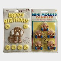 Vintage Children's Birthday Cake Toppers Candles & Candy Group