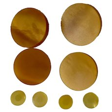Mid-Century Round Bakelite Amber Colored Buttons