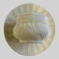 Belleek Open Sugar Bowl and Saucer Swirl Yellow Ribbon Discontinued