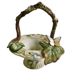Fitz and Floyd Woven Basket with Flowers and Butterfly FF