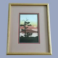 Tree Silhouette Sunset Watercolor Painting