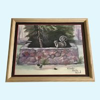 Wanda Kerby Reed, Primitive Backyard Squirrel Watercolor Painting