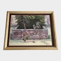 Wanda Kerby Reed, Primitive Backyard Squirrel Watercolor Painting