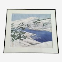 Snow Covered Asian Landscape Painting on Silk Signed