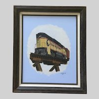 L G LeLee Jr, Chessie System Train Engine Rail Road Acrylic Painting