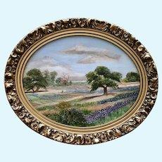 Jimmie Tarleton, Bluebonnets Landscape Texas Artist Oil Painting