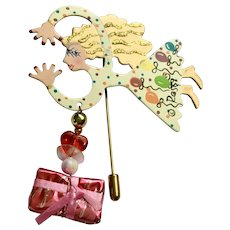 Eccentric Lady Party Dress Straight Pin Brooch Rossi