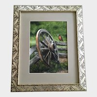 R Elmer, Robin Bird Watercolor Painting By Abandoned Wagon Wheel
