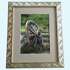 R Elmer, Robin Bird Watercolor Painting By Abandoned Wagon Wheel