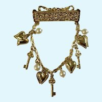 Gold-Tone Brooch Pin With Charm Keys, Hearts and Faux Pearls