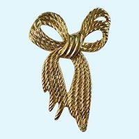 Twisted Ribbon Bow Brooch Pin