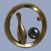 Bowling Pin & Ball Pin Gold-Tone Brooch