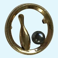 Bowling Pin & Ball Pin Gold-Tone Brooch