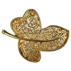 Beautiful Gold-Tone Leaf Brooch Pin with Heart Filigree