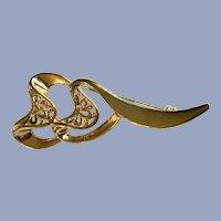 Gold-Tone Heart Ribbons Brooch Pin