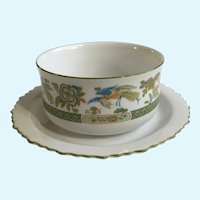 Sango Jade Garden Gravy Boat Attached Plate One World Tango
