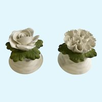 Aynsley White Flowers Bone China Salt & Pepper Shakers England