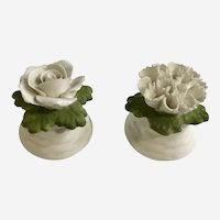 Aynsley White Flowers Bone China Salt & Pepper Shakers England