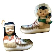 Native American Indian Boy Girl in Moccasins Salt and Pepper Shakers Vintage S&P