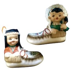 Native American Indian Boy Girl in Moccasins Salt and Pepper Shakers Vintage S & P