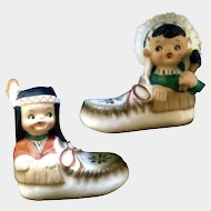 Vintage Salt and Pepper Shakers Native American Indian Boy Girl in Moccasins Vintage S&P Figurines